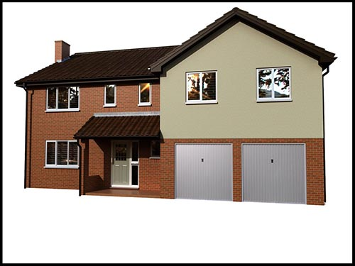 3d cgi rendering of a house with extension, berkshire