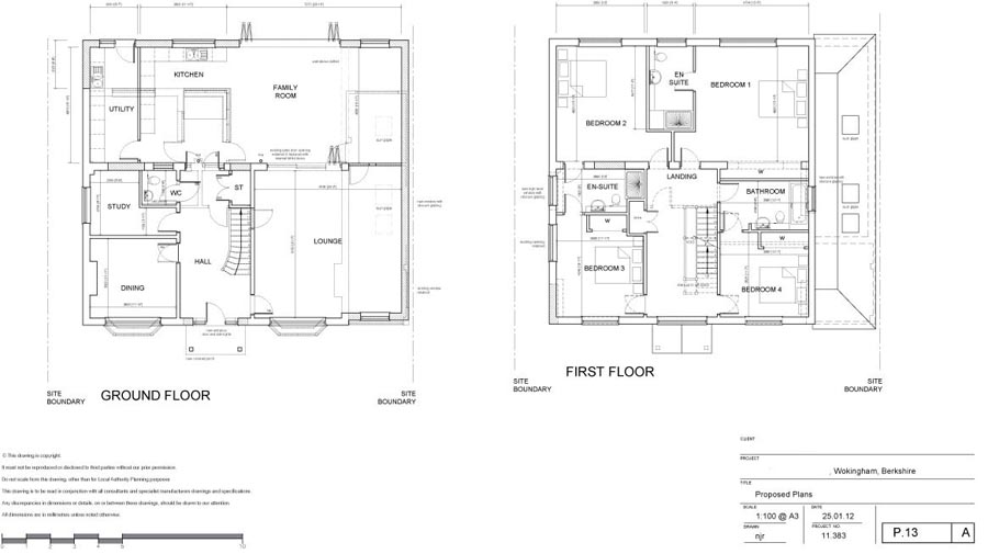 Architects plans of floor plans of Wokingham house