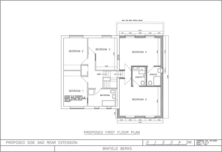 Approved plans for Binfield property extension, first floor