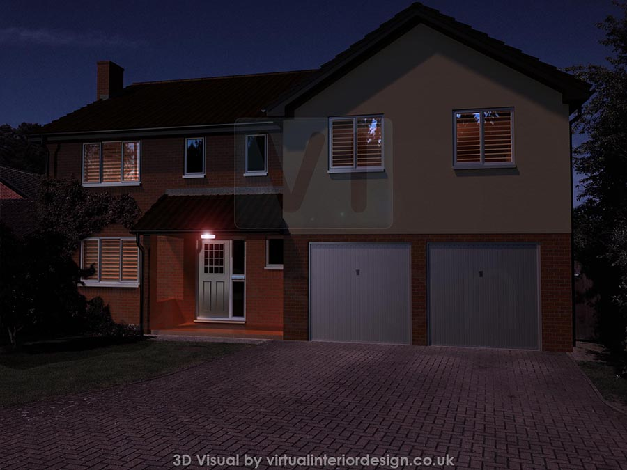 Front View of House Proposal at Dusk, Binfield, Berks