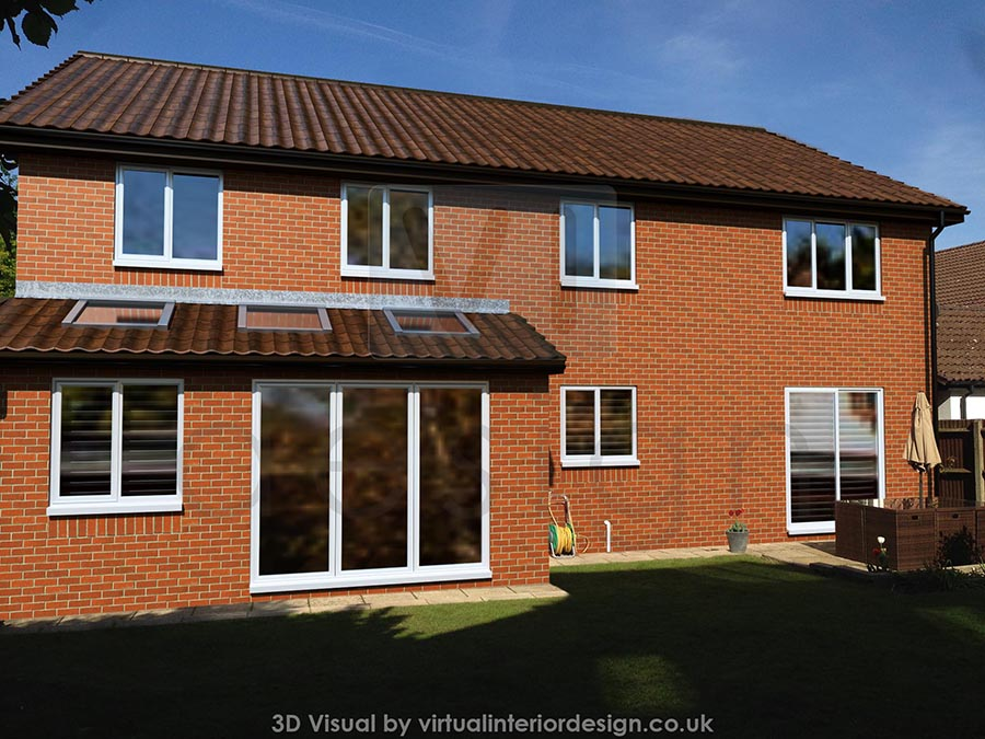 Rear 3d cgi of property extension, Binfield, Berks, with velux windows