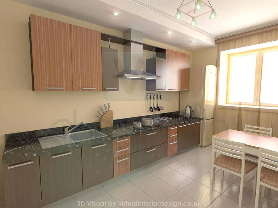 Gloss veneered kitchen interior