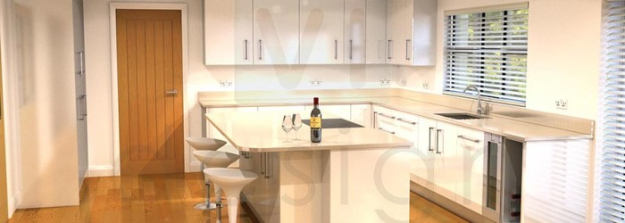 Kitchen interior with white gloss cabinets and corian worktop