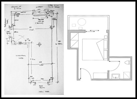 Simple hand drawn site survey or line drawing