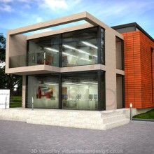 Modern Office Development, Concrete and Glass, Concept