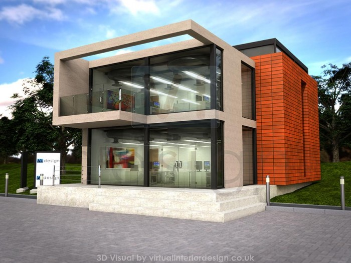 Office Exterior Design. Modern Office Development, Concrete And Glass, Concept  Exterior Design E